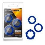 Набор из 3 синих эрекционных колец Stay Hard Beaded Cockrings - фото 1168207