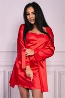 Роскошный ночной комплект Jacqueline: пеньюар, сорочка и трусики-стринги - фото 257369