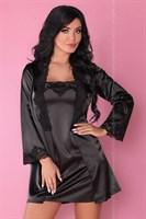 Роскошный ночной комплект Jacqueline: пеньюар, сорочка и трусики-стринги - фото 81871