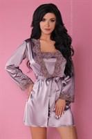 Роскошный ночной комплект Jacqueline: пеньюар, сорочка и трусики-стринги - фото 81875