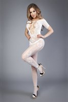 Белый комбинезон c короткими рукавами и имитацией шнуровки на груди - фото 233237