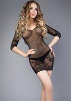 Чёрное платье-сетка с длинными рукавчиками - фото 473865