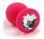 Розовая силиконовая анальная пробка с прозрачным кристаллом - 7 см. - фото 1169453