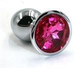 Серебристая алюминиевая анальная пробка с ярко-розовым кристаллом - 7 см. - фото 1169522