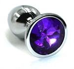 Серебристая алюминиевая анальная пробка с темно-фиолетовым кристаллом - 7 см. - фото 1169542