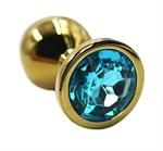 Золотистая алюминиевая анальная пробка с голубым кристаллом - 6 см. - фото 233514