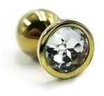 Золотистая алюминиевая анальная пробка с прозрачным кристаллом - 6 см. - фото 1169567