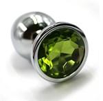 Серебристая алюминиевая анальная пробка с светло-зеленым кристаллом - 6 см. - фото 251530