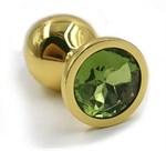 Золотистая алюминиевая анальная пробка с светло-зеленым кристаллом - 6 см. - фото 251533