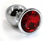 Серебристая алюминиевая анальная пробка с красным кристаллом - 7 см. - фото 203935