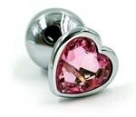 Серебристая анальная пробка с нежно-розовым кристаллом-сердцем - 7 см. - фото 203948