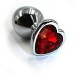 Серебристая анальная пробка с красным кристаллом-сердцем - 8,2 см. - фото 229551