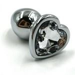Серебристая анальная пробка с прозрачным сердцем-кристаллом - 7 см. - фото 323412