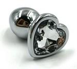 Серебристая анальная пробка с прозрачным сердцем-кристаллом - 6 см. - фото 203957