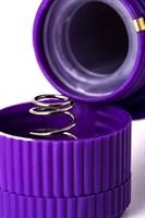 Фиолетовый вибратор с утолщением посередине и клиторальным зайчиком - 18 см. - фото 1170004