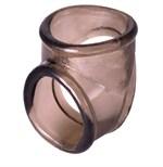 Дымчатое эрекционное кольцо с фиксацией мошонки - фото 1170314