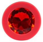 Красная силиконовая анальная пробка с красным кристаллом Joy - 7,2 см. - фото 204985