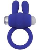 Синее эрекционное кольцо «Зайчик» с мини-вибратором - фото 1171238