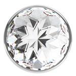 Большая серебристая анальная пробка Diamond Clear Sparkle Large с прозрачным кристаллом - 8 см. - фото 205609