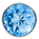 Большая серебристая анальная пробка Diamond Light blue Sparkle Large с голубым кристаллом - 8 см. - фото 205615