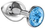 Большая серебристая анальная пробка Diamond Light blue Sparkle Large с голубым кристаллом - 8 см. - фото 205613