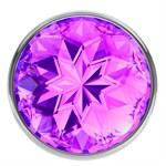 Большая серебристая анальная пробка Diamond Purple Sparkle Large с фиолетовым кристаллом - 8 см. - фото 1171372