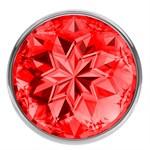 Малая серебристая анальная пробка Diamond Red Sparkle Small с красным кристаллом - 7 см. - фото 205633