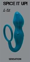 Бирюзовое эрекционное кольцо Sensation с анальным стимулятором  - фото 1543975