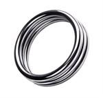 Металлическое эрекционное кольцо с рёбрышками размера M - фото 1173040