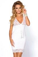Белая сорочка Colette с кружевным лифом и оторочкой подола - фото 1173286