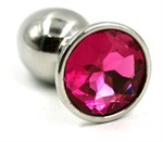 Серебристая малая анальная пробка с ярко-розовым кристаллом - 7 см. - фото 252403