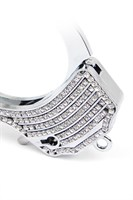 Серебристые наручники Romfun из металла со стразами - фото 1176100