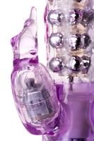 Фиолетовый хай-тек вибратор High-Tech fantasy с бусинами и отростком - 27,2 см. - фото 240410