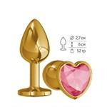 Золотистая анальная втулка с малиновым кристаллом-сердцем - 7 см. - фото 1176498