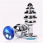 Серебристая анальная фигурная пробка с синим стразом - 9 см. - фото 210885