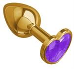 Золотистая анальная втулка с фиолетовым кристаллом-сердцем - 7 см. - фото 1176922