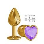 Золотистая анальная втулка с фиолетовым кристаллом-сердцем - 7 см. - фото 1176921