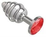 Серебристая пробка с рёбрышками и красным кристаллом - 7 см. - фото 1176946