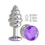 Серебристая пробка с рёбрышками и фиолетовым кристаллом - 7 см. - фото 241031