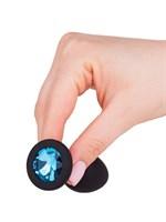 Чёрная анальная втулка с голубым кристаллом - 7,3 см. - фото 1327780
