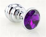 Серебристая рифлёная пробка с фиолетовым кристаллом - 9 см. - фото 211334