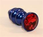 Синяя рифлёная пробка с красным кристаллом - 7,3 см. - фото 1177063