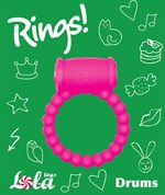 Розовое эрекционное кольцо Rings Drums - фото 241258