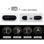 Чёрное эрекционное кольцо с вибрацией и щеточкой для клитора - фото 1177424