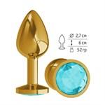 Золотистая анальная втулка с голубым кристаллом - 7 см. - фото 243175