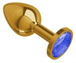 Золотистая анальная втулка с синим кристаллом - 7 см. - фото 1679306
