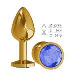 Золотистая анальная втулка с синим кристаллом - 7 см. - фото 1679305
