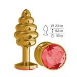 Золотистая пробка с рёбрышками и красным кристаллом - 7 см. - фото 213291