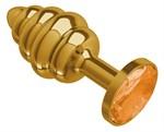 Золотистая пробка с рёбрышками и оранжевым кристаллом - 7 см. - фото 213302