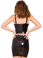 Чёрная бесшовная юбка из латекса - фото 667619